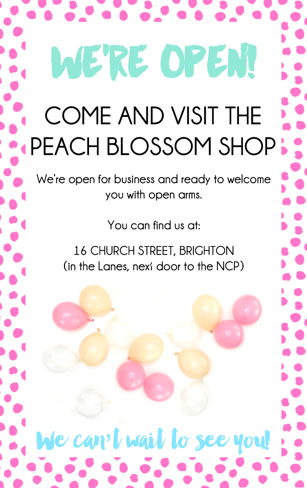 The Peach Blossom party shop is officially open in Brighton