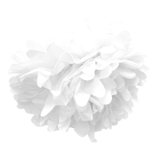White tissue paper pom pom decoration for birthday parties, weddings, hen dos and baby showers