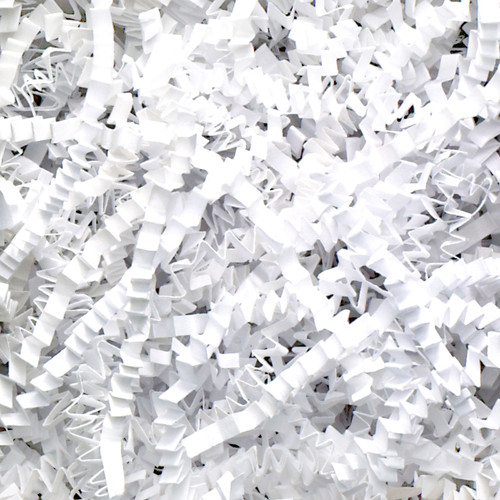 White Crinkle cut gift wrap paper shredding for gifts, presents, craft projects and wedding favours