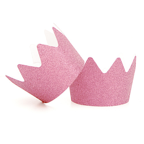 Pink Glitter Party Crowns for childrens birthday parties