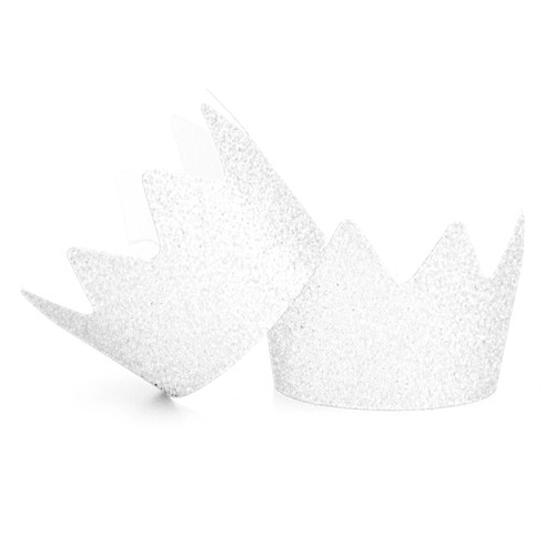 White Glitter Party Crowns for childrens birthday parties