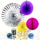 Rainbow and metallic silver party decoration collection