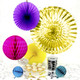 Rainbow and metallic gold party decoration collection