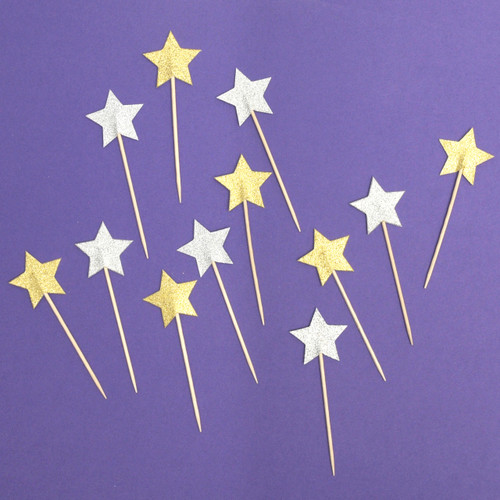 Glitter gold and silver star party picks for cocktail drinks and cake or cupcake toppers
