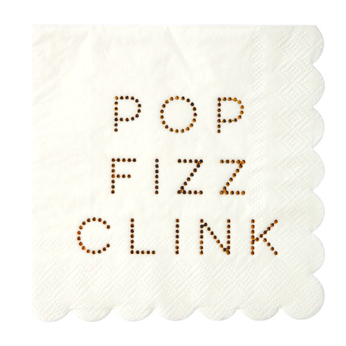 Gold Foil Pop Fizz Clink Napkins for Cocktail Parties, Christmas and Hen Parties