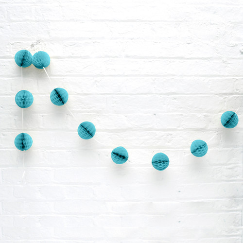 Mini Turquoise Honeycomb Ball Garland Decoration for Birthday Parties, Hen Dos, Baby Showers and Photo Booth Backdrops.