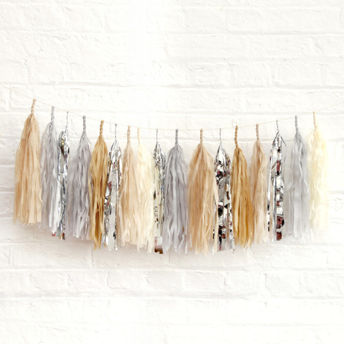 Silver Sand Tissue Paper Tassel Garland for weddings, birthday parties and hen dos.