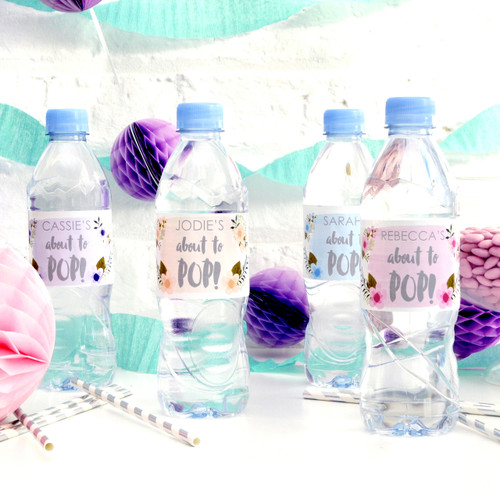Personalised About to Pop Baby Shower Bottle Labels for Stylish Favours