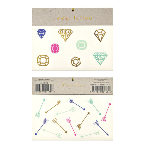 Gem and arrow temporary tattoos for children's birthday parties and hen dos.