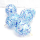 Blue and white confetti party balloons