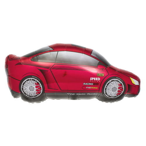 Shiny red racing sports car party balloon