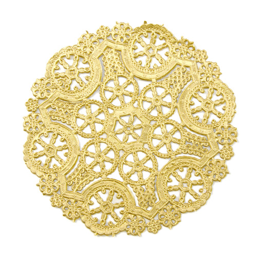Gold round paper lace doilies for crafting, wedding decor and parties