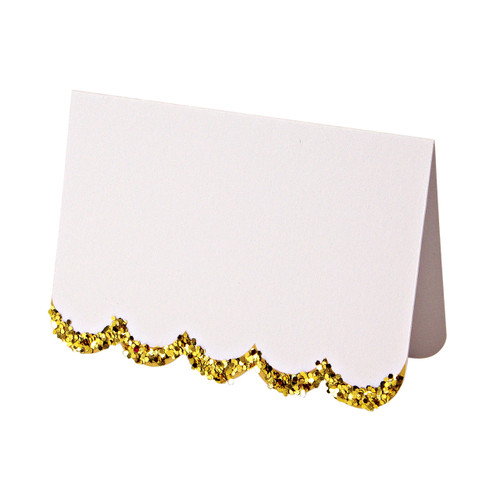 Gold glitter scallop edged place cards