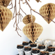 Beige cone shape honeycomb ornaments for Christmas, baby showers and home decor