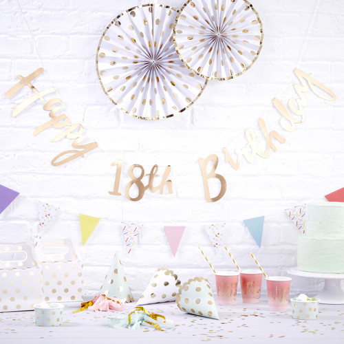Gold Happy 18th Birthday Script Bunting Decoration