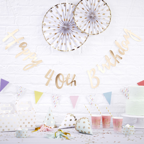 Gold Happy 40th Birthday Script Bunting Decoration