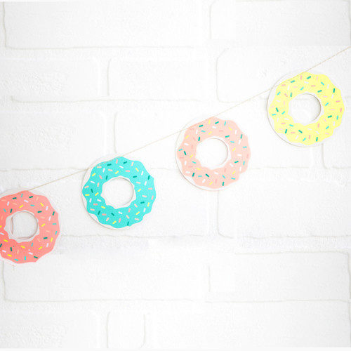 Doughnut Party Bunting decoration for birthday parties and hen dos