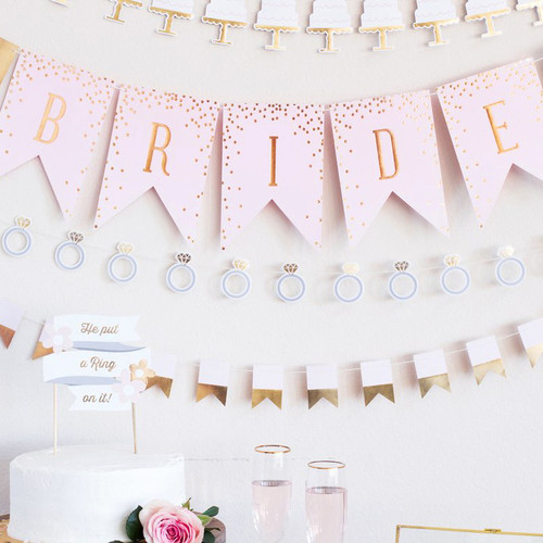 Hen Party Pink and Gold Bunting Decoration