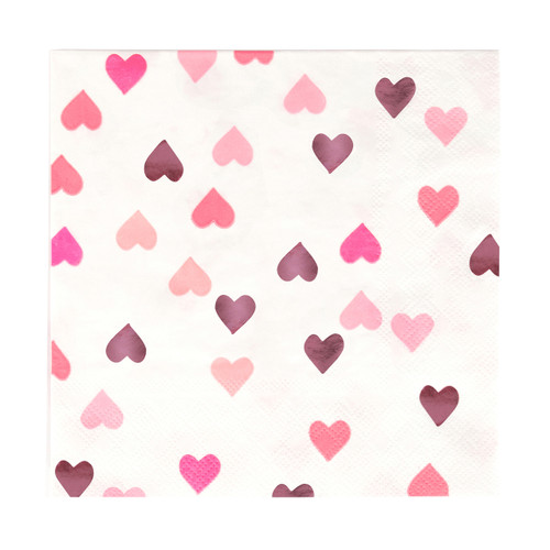 Love heart pink paper party napkins