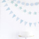 Mini pastel blue bunting for a baby shower or boy's birthday party