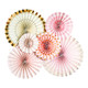 Blush pink and gold paper fan decorations and confetti for unicorn and princess parties, hen dos and baby showers
