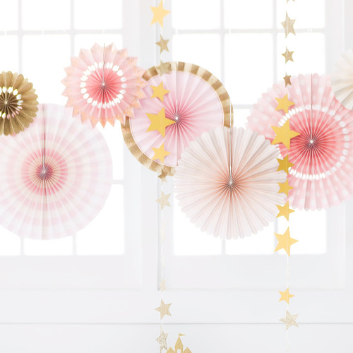 Pink and gold party fans for princess and unicorn themed birthdays and celebrations