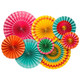 Colourful tropical fiesta style paper party fan decorations