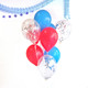Royal wedding party balloons in red, blue and silver shimmer
