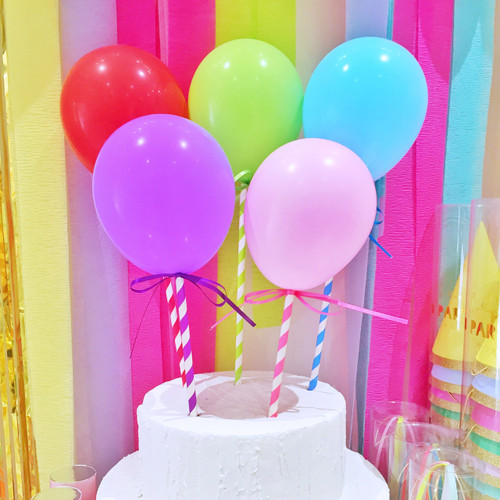 Rainbow balloon cake toppers decoration for birthday parties