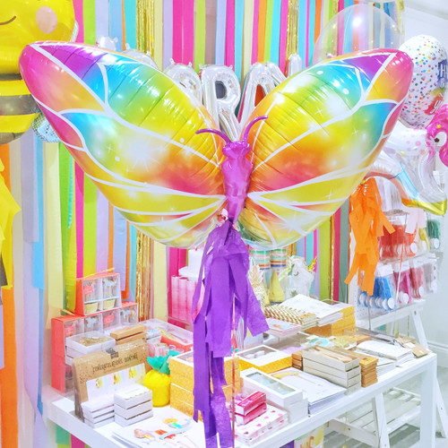Butterfly party balloon for magical themed birthdays or unicorn parties