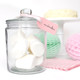 Glass jar with lid for party sweets tables, wedding dessert buffets and marshmallows