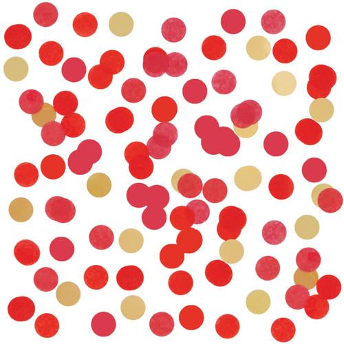 Red round tissue paper confetti
