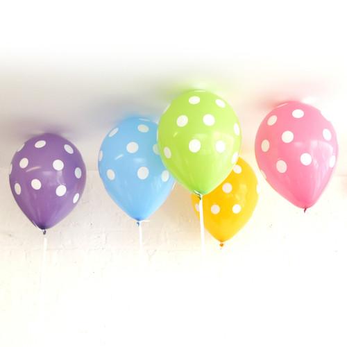 White Polka Dot Pastel Party Balloons