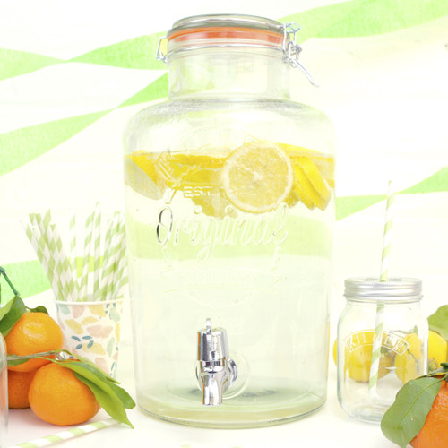 Glass Kilner drink dispenser for parties and weddings