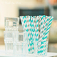 Aqua and Grey Stripe Paper Party Straws