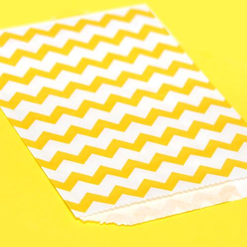 Yellow Chevron Print Paper Party Bags