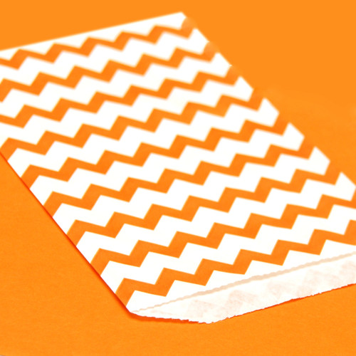 Orange Chevron Print Paper Party Bags
