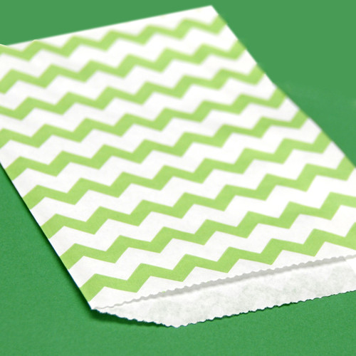 Green Chevron Print Paper Party Bags