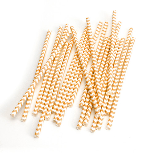 Modern Orange Chevron Print Paper Party Straws