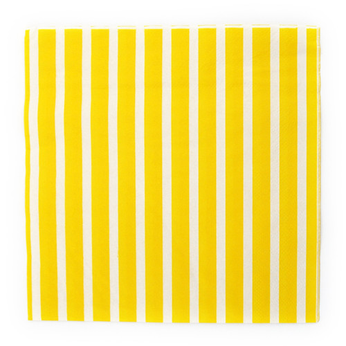 Yellow Stripe Paper Party Napkins
