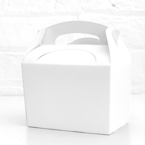 White food treat box for birthday party snacks, picnics, goodie bags, gifts and street food.