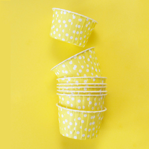 Yellow Polka Dot Party Serving Cups for ice cream, snacks, treats and nibbles
