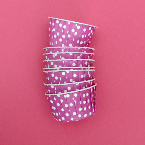 Magenta Pink Polka Dot Party Serving Cups for ice cream, snacks, treats and nibbles