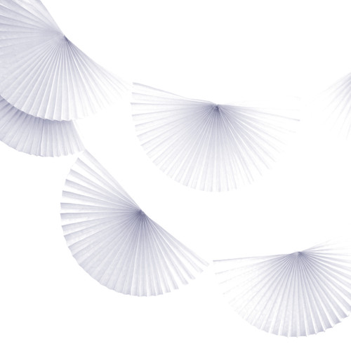 White Paper Fan Garland Bunting Decoration for Birthday Parties, Weddings, Baby Showers and Hen Dos