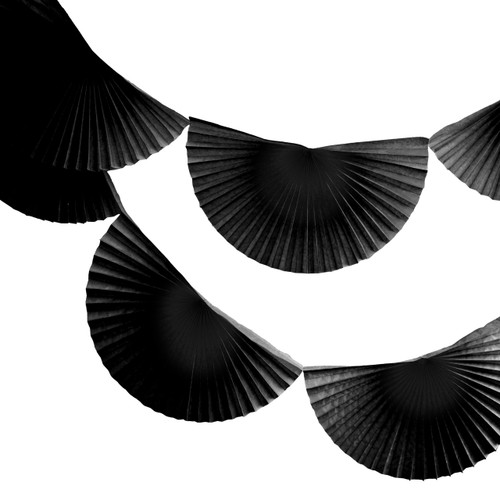 Black Paper Fan Garland Bunting Decoration for Birthday Parties, Halloween and 1920s Gatsby themed parties.