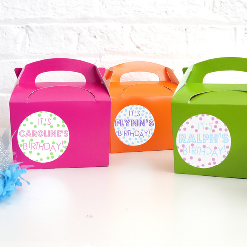 Personalised Polka Dot Birthday Name Stickers for Party Bags, Gifts and Favours
