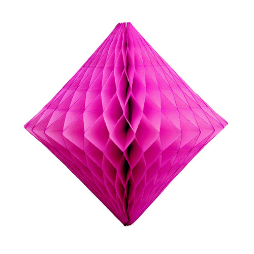 Dark pink tissue paper diamond decoration for kids birthday parties, weddings, dessert table displays and hen dos.
