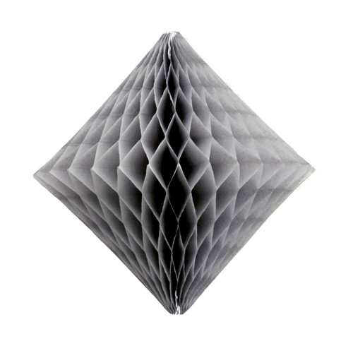 Grey tissue paper diamond decoration for kids birthday parties, weddings, dessert table displays and hen dos.