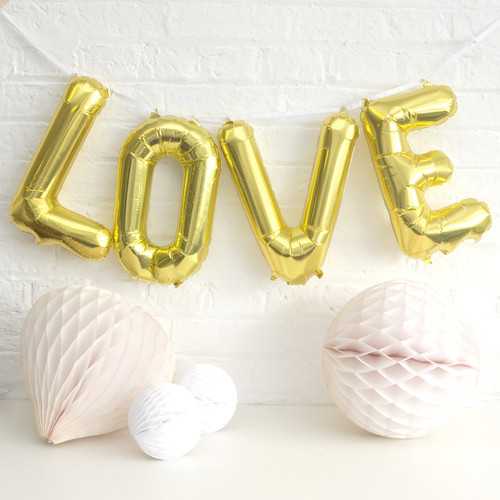 Love Metallic Letter Party Balloon Decorations for weddings, hen parties and dessert tables