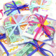 Stickers, ribbon, sequins and paper gift accessories